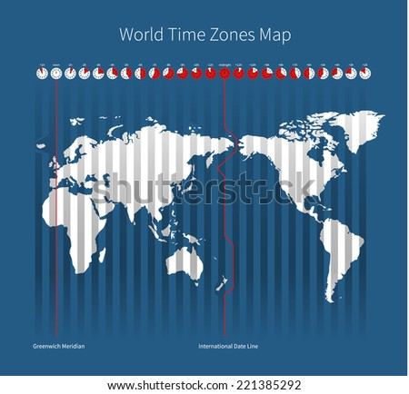 world time zones map on blue