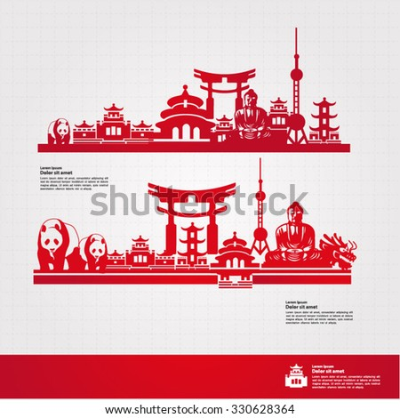 world to china travel vector