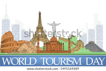 World Tourism Day Background Vector Eps 10