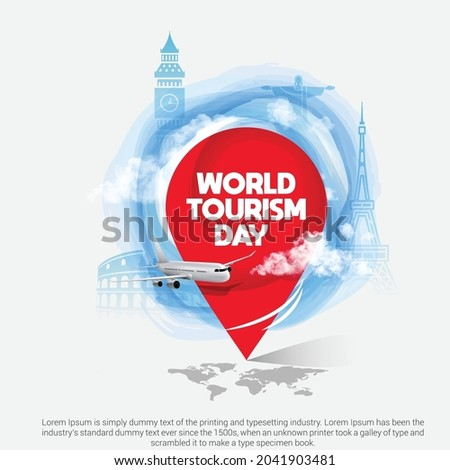 World tourism day creative concept background