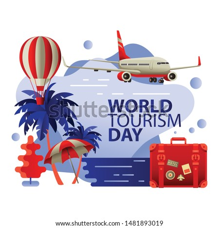 World tourism day flat vector illustration