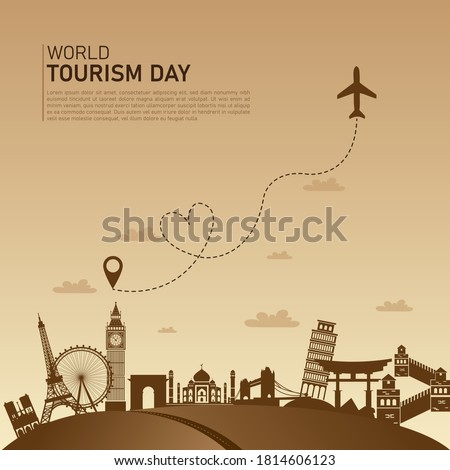 world tourism day flat vector