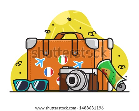 World Tourism Day illustration, Cute Tourism pack vector, flat, tshirt illustration