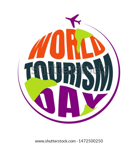 World Tourism Day lettering typography vector background illustration