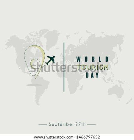 World Tourism Day Vector design with flying plane and pin pisition