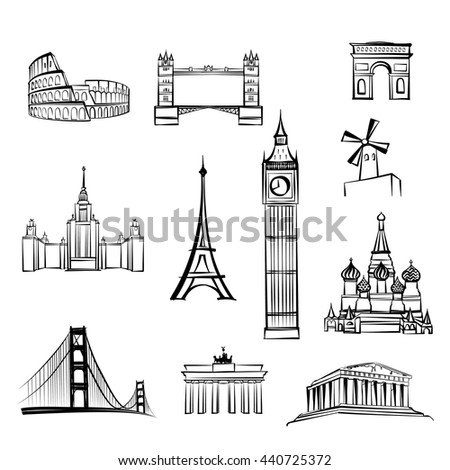 world tourist attractions symbols World famous city landmarks Travel icon set Doodle engraved sightseeing of London, Rome, Berlin, Athens, Moscow, San Francisco, Paris. ストックフォト ©