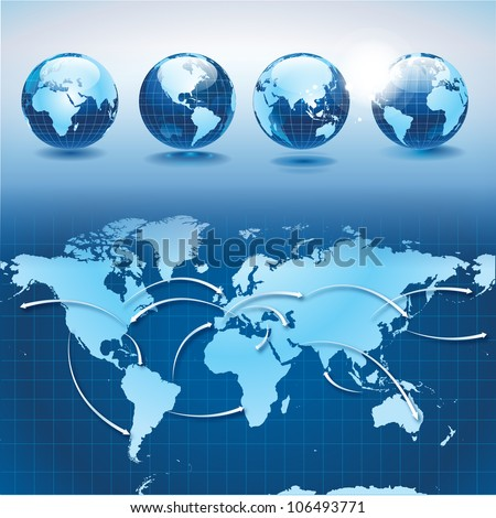 World transportation and logistics with earth globes