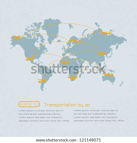 world transportation map with