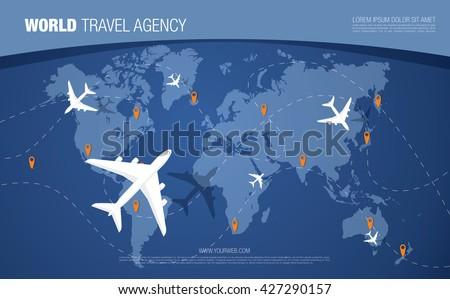 world travel agency banner world map background