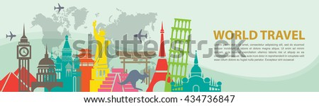 world travel banner vector   a