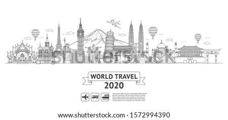world travel doodle art drawing