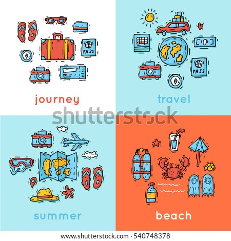 World Travel. Hand drawn. Planning summer vacations. Summer holiday, journey, traveling. Tourism and vacation theme. Flat design vector illustration.
