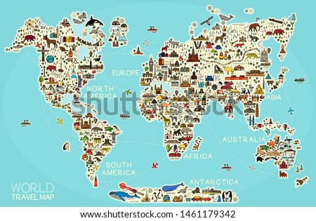 World Travel Line Icons Map.  Travel Poster with animals and sightseeing attractions.  Inspirational Vector Illustration.