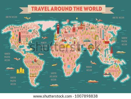 World travel map poster. Travel and tourism background. London, Paris, Moscow, Rome, New York, Asia, Dubai, India, China, Thailand famous monuments. Vector illustration