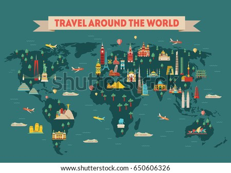 World travel map poster. Travel and tourism background. Vector illustration