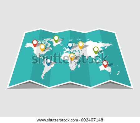 world travel map travel pin location on a global map flat vector illustration