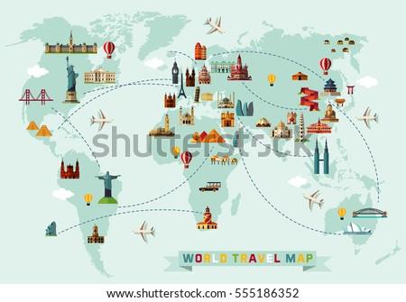 World travel illustration download free vector art stock graphics world travel map vector illustration gumiabroncs Choice Image