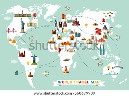 world travel map vector