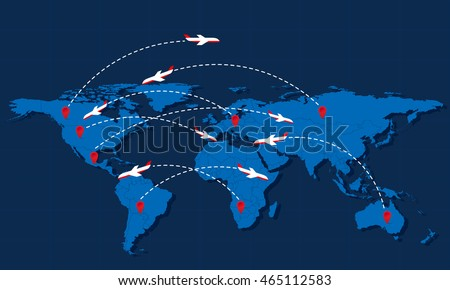 World map information infographic transportation download free world travel map with airplanes and markers vector illustration modern flat design gumiabroncs Choice Image