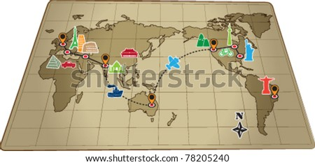 World travel map with icons vector