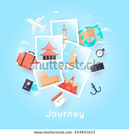 World Travel. Photo. Planning summer vacations. Holiday, journey. Tourism and vacation theme. Poster. Flat design vector illustration.