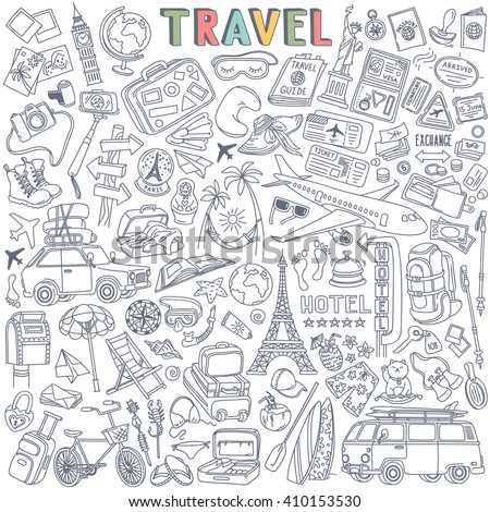 world travel set hand drawn
