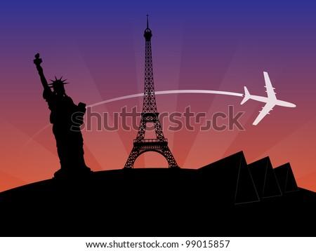 World Travel Sunset Background