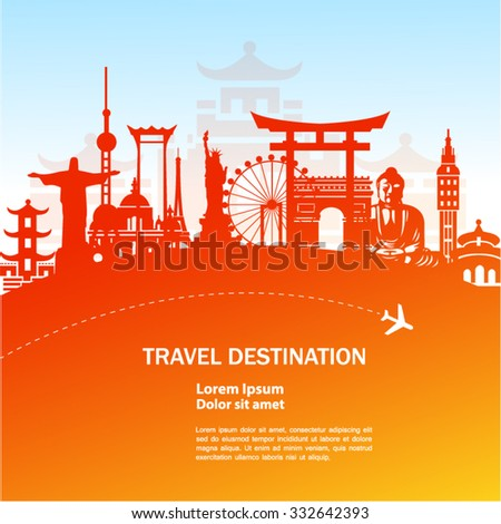 world travel vector orange