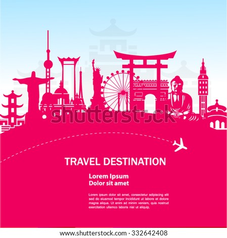 world travel vector pink concept