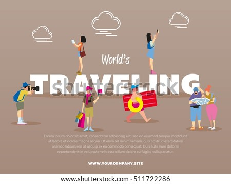 World traveling banner with people vector illustration. Tourist with backpack. Family travelers, active recreation, hiking. Couple of journey. Girl making selfie. Trip and vacation. Man with camera