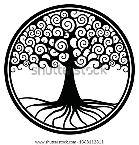world tree life tree wheel gold medallion pendant