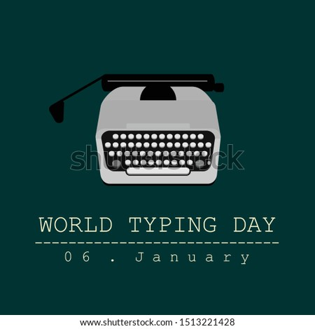 World Typing Day with Type Writer cartoon concept design