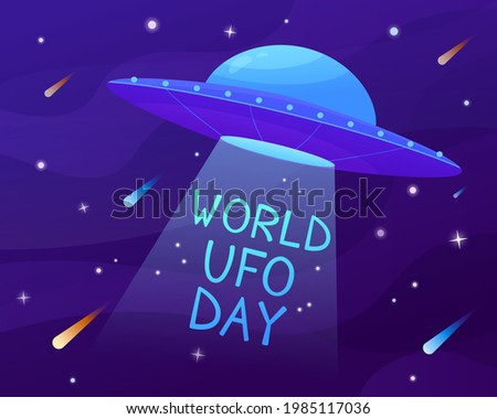 World ufo day. Branch tree illustration cosmos. Flying saucer in cartoon style. Banner  Stock photo ©