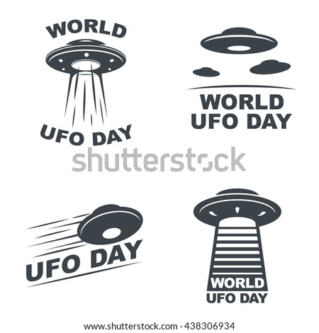 World UFO Day. Set of four emblems on white background. Vector EPS10.