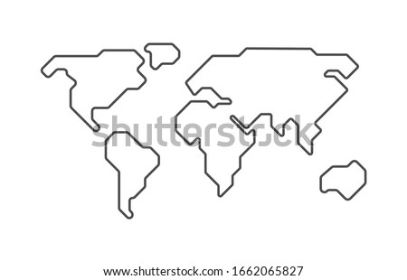 World vector map. Earth planet simple stylized continents silhouette, minimal simplified line contour. Shape isolated on white. Abstract illustration for infographic, interior decorate, wallpaper. ストックフォト ©