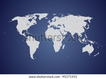 World vector map (gray on blue background)