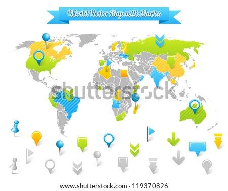 World Vector Map with Marks. - stock vector