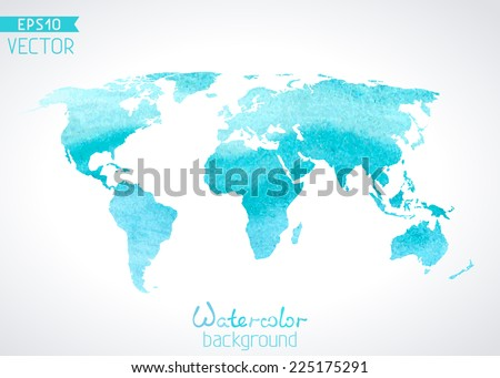 Blue world map background download free vector art stock graphics world vector watercolor map isolated on light background vector illustration gumiabroncs Gallery