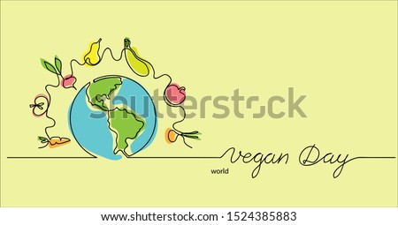 World vegan day hand drawn vector illustration. Vegetarian color background,border with planet, vegetables and fruits.One continuous line drawing. Vegan day lettering.