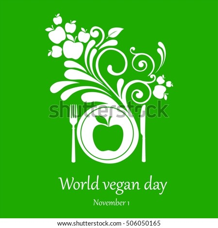 World vegan day.  November 1. Vector Illustration
