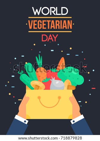 World Vegetarian Day Celebration Banner With Vegetables. Vector