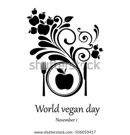 World vegetarian day.  November 1. Vector Illustration