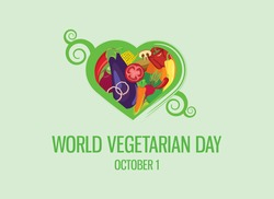 World Vegetarian Day vector. Vegetable heart shape icon vector. Different types of vegetables vector. Green floral heart shaped vegetables set. Vegetarian Day Poster, October 1. Important day