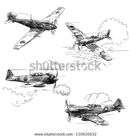 world war aircraft   hand drawn