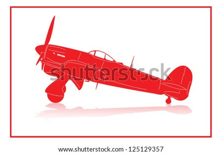 World War 2 fighter plane in red silhouette.