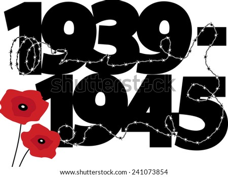 World War II commemorative symbol with dates, poppies and barbed wire