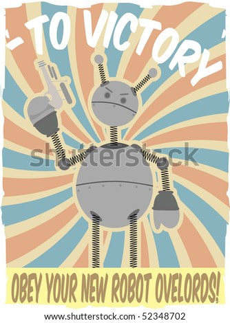 World War II Poster Faux Robot Invasion Vector
