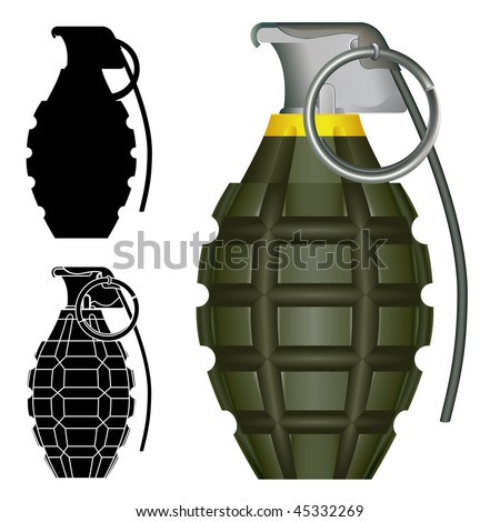 World War Two American pineapple hand grenade explosive bomb vector illustration.  Set includes silhouettes and high degree of detail.
