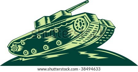 World War two Battle tank isolated on white background done in woodcut style