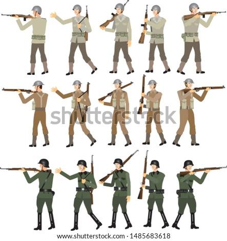 World War Two Soldier Set, American, British and SS German, WW2 Troop, Rifle M1 Garrand, Lee Enfield and Mauser Gun - Vector